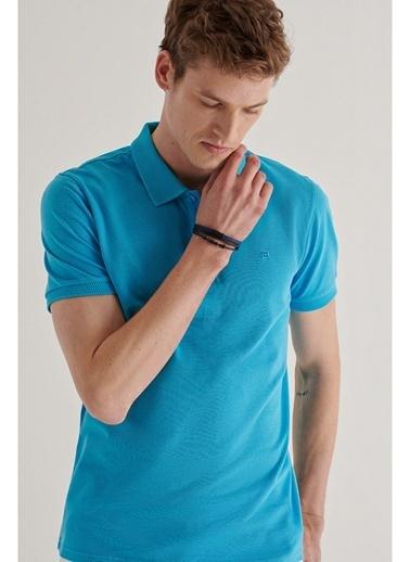 Avva A11B1146 Polo Yaka Düz T-Shirt A11B1146 Mavi